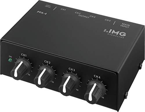IMG STAGELINE PPA-4 stereo hoofdtelefoonversterker, 4 aparte hoofdtelefoon versterker in één behuizing met elk een niveauregelaar per amp, in zwart