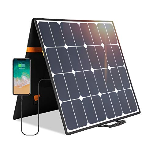 Kingsolar 100W 18V 12V Portable Foldable Solar Panel Charger Sunpower Solar Cell (DC18V/5.5A and USB5V/2.1A) for Camping Van,Laptop,Car,Boat Battery