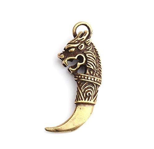 【2 Stück】 Tigerzahn-Halskette/Tigerzahn-Schlüsselanhänger/Tigerzahn-Anhänger, Tigerzahnfigur, Handwerk aus Messing, goldene Statue