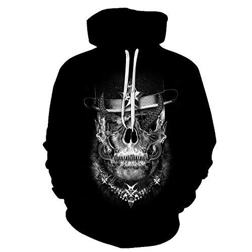 3D Druck Hoodie Unisex Casual Unisex Sweatshirt Sweatshirt Pullover Mit Taschen 3D Gedruckt Einfache Schwarze Und Weiße Orang-Utan Schädels Paar Jacke - Yx0643 - Baseball Uniform Für Schüler Top C