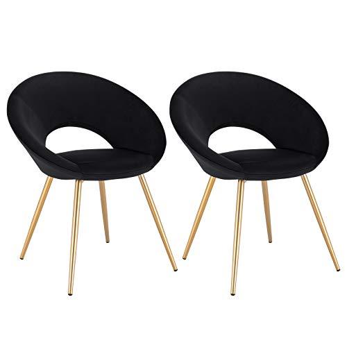 WOLTU® Esszimmerstühle BH230sz-2 2X Küchenstuhl Polsterstuhl Wohnzimmerstuhl Sessel, Sitzfläche aus Samt, Metallbeine, Gold+Schwarz
