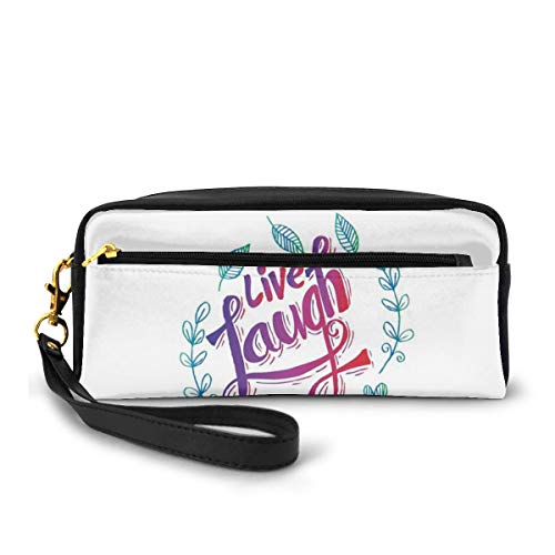 Pencil Case Pen Bag Pouch Stationary,Hand Lettering Motivational Quote with Leaf Frame Illustration,Small Makeup Bag Coin Purse