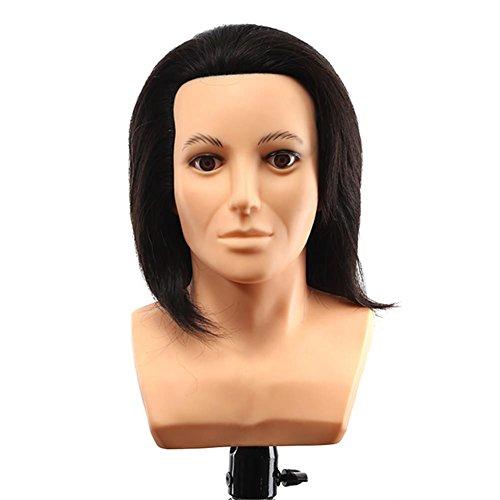 Remeehi hombre de maniquí de la cabeza con hombro 100% pelo humano macho...