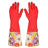 3 pair Decorative Latex Dish washing Gloves with PVC Cuff Assorted