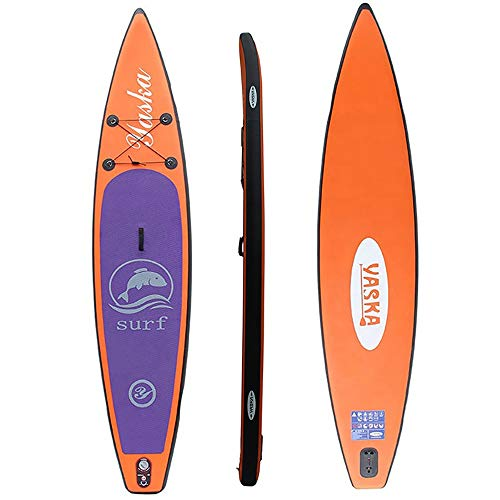 Zjcpow Tabla de Paddle Surf Hinchable 12.5ft Stand Up Paddle Board Inflable 15 cm Longitud Grueso Ligera Paddle expedición for Principiantes y Profesionales (Color : Orange, Size : 381x76x15cm)