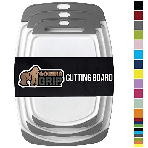 GORILLA GRIP Original Oversized Cutting Board, 3 Piece, BPA Free, Dishwasher Safe, Juice Grooves, Larger Thicker Boards, Easy Grip Handle, Non Porous, Extra Large, Kitchen, Set of 3, Gray