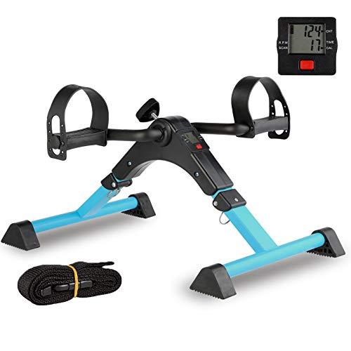 IPKIG Folding Pedal Exerciser - Portable Desk Bike, Under Desk Bike Pedal Exerciser for Leg and Arm Exercise, Low Impact, Adjustable Fitness Rehab Equipment for Seniors, Elderly (Blue)