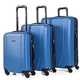 ITACA - Juego de Maletas de Viaje Rígidas 4 Ruedas Trolley 55/65/75 cm ABS. Buenas Cómodas y Ligeras. Candado. Grande Mediana y Pequeña Cabina Ryanair. 71100, Color Azul-Antracita