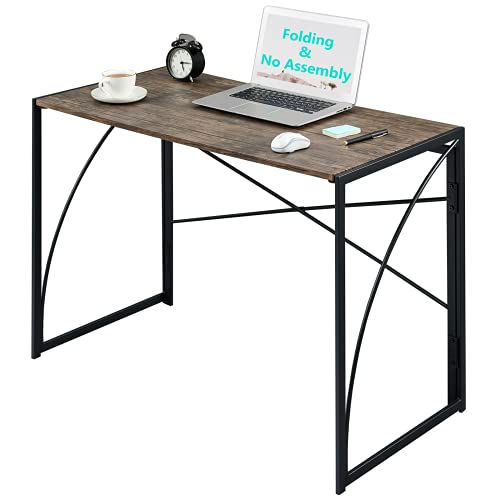 """Folding Computer Writing Desk No-Assembly ps5 Gaming Desk Modern Simple Study PC Laptop Table Kids ps5 Small Industrial Desk Home Office Desk Wood Workstation with Space Saving, Brown and Black 39.4"""""""
