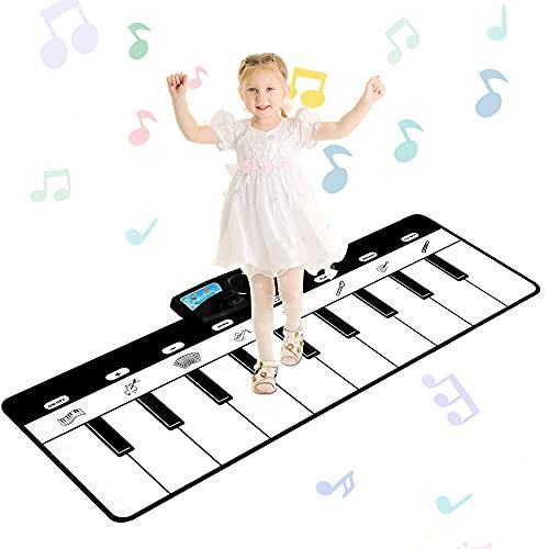 sanlinkee Piano Matte,19 Keyboard Klaviermatte für Kinder Musikmatte mit 10 Demo Lieder und 8 Instrumenten Tanzmatte Geschenke für Jungen Mädchen Kinder ab 3 Jahr ( 110 x 36 cm )