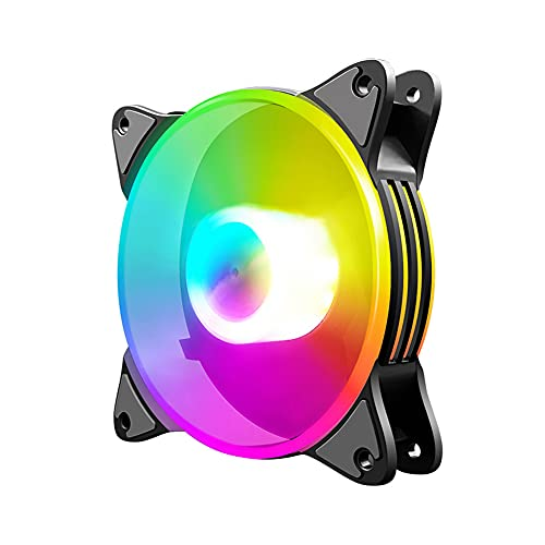 Coolmoon - Ventilador de levitación magnética de alta presión de bajo ruido, 12 cm RGB pequeño 6 pines chasis de escritorio PC ventilador de refrigeración (1 ventilador)
