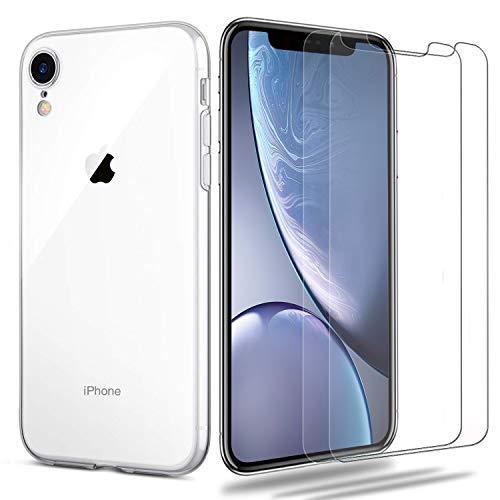 iPhone XR Hülle + Panzerglas Set, [1 Hülle + 2 Panzerglas] iLiebe Schutzhülle Schutzfolie Folie Glas TPU Silikon Hülle Cover Tasche Schale Weiche Transparent Crystal für iPhone XR