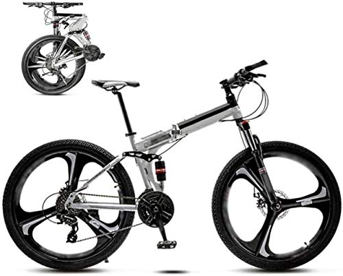 Bikes 24-26 inch MTB Bicycle, Unisex Folding Commuter Bike, 30-Speed Gears Foldable Bicycle Bike,Double Disc Brake/White/A Wheel / 26'' 7-14 fengong
