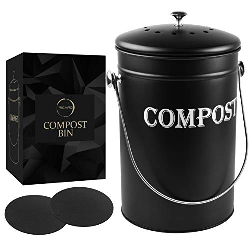 Compost Bin Kitchen 1.8 Gallon Smell Free Charcoal Filter Countertop Compost Bin with Lid - Stainless Steel Rust-Free Composting Bin for Kitchen Counter Compost Bucket Includes a Spare Filter (Black
