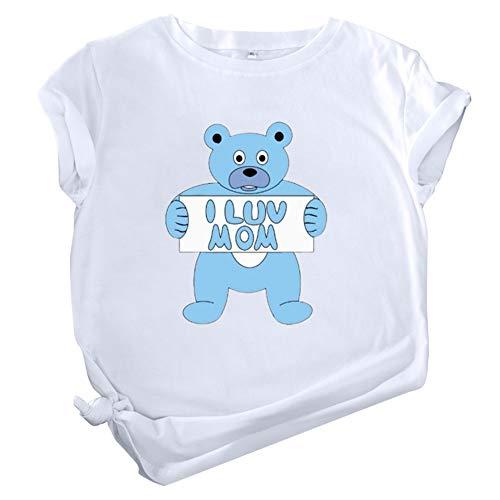 """ZHANGXJ """"I Love MOM""""Letra Imprimir Gráfico Camiseta Verano Algodón Ablandado Casual Tops Redondo Basica Camiseta,para el día de la madreideal como Regalo (Color : White XL)"""