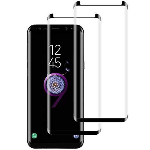 Aspiree 2 Unidades Protector de Pantalla para Samsung Galaxy S8, Vidrio Templado, 3D Curvado Completa Cobertura, 9H Dureza