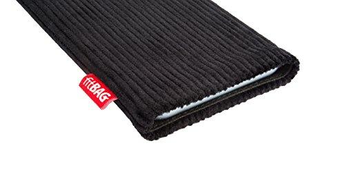 fitBAG Retro Schwarz Handytasche Tasche aus Cord-Stoff mit Microfaserinnenfutter für Huawei Ascend Mate 2   Hülle mit Reinigungsfunktion   Made in Germany - 3