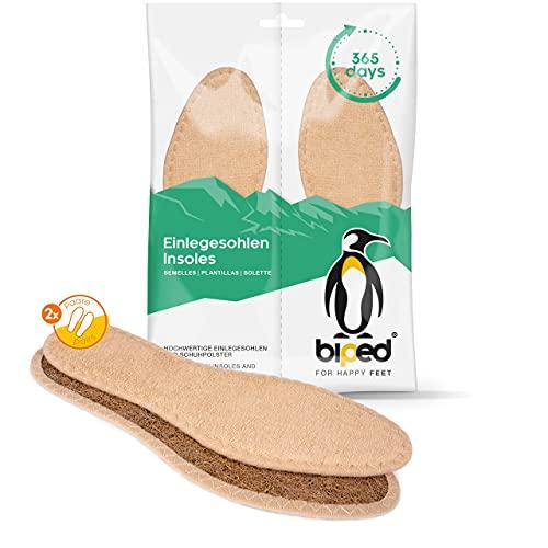 biped 2 pares de plantillas para ir sin calcetines - plantillas con fibra de coco y suave rizo de algodón - para mantener el frescor en los pies - plantillas de rizo veganas z2783 (43)