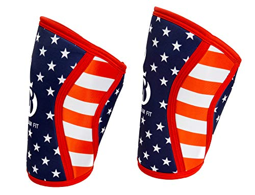 Fire Team Fit Knee Sleeve 7mm, Compression Support for Weight Lifting and Cross Training (American Flag, Large)