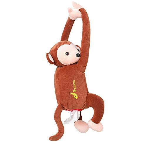 Niedliche Tissue Box, Braun Kreative PIPI Monkey Tissue Box Nette Spielzeug Cartoon Tier Tissue Papierhalter Fall für Auto Home Badezimmer Küche Büro, Braun