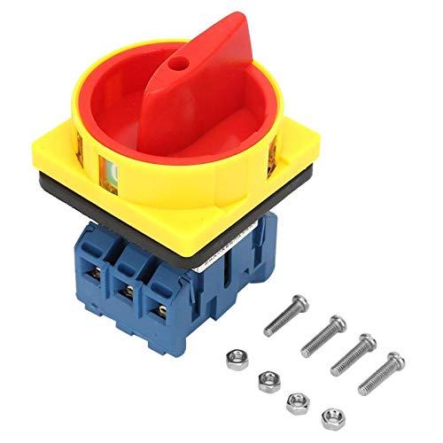 Interruptor selector de potencia de encendido y apagado de 3 polos y 2 posiciones Disyuntor de carga Interruptor giratorio 25A / 32A para máquinas herramientas Disyuntor de maquinaria(25A)