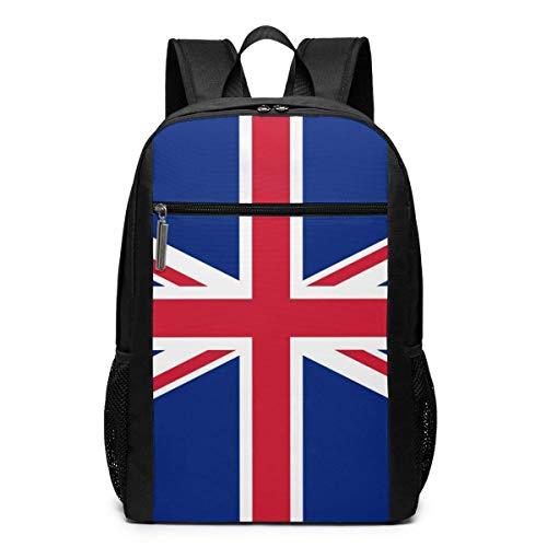 Qfunny Reino Unido Union Jack Flag Mochila para computadora portátil 17 Pulgadas Mochila de Negocios Informal Grande Bolsa para computadora portátil Mochila para Hombres y Mujeres Negro