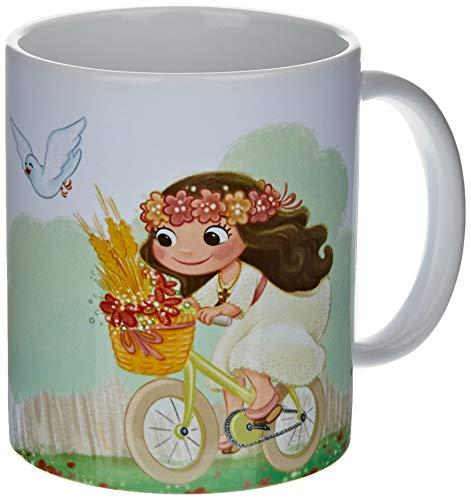 Mopec G912.2.1 Taza cerámica niña Comunión en Bici, Porcelana
