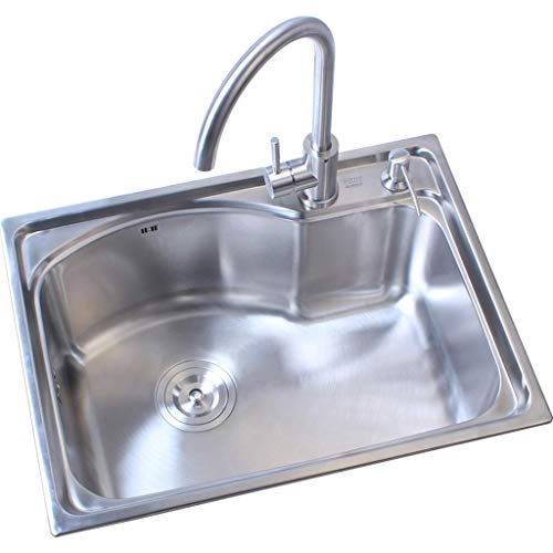 Modern Stainless Steel Kitchen Sink for 62cm Cabinet, Square Kitchen Sink for Top-Mount Installation Easy to Clean