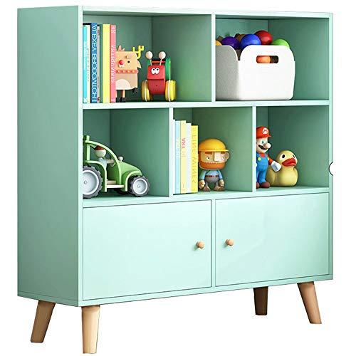 LJFYXZ Librería Vertical Estante Simple Admisión de Estudiantes Estantería pequeña para niños en casa con Puerta 80x24x107cm (Color : Green)