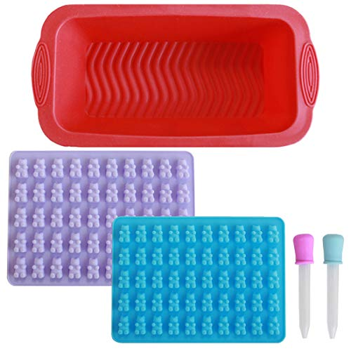 DANIVE Silicone Bread Pan - Candy Baking Set, Including 2PCS Gummy Bear Makers, 1PC Loaf Pan for Homemade Bread Making, Jello, Chocolate, Meatloaf & Quiche, with 2 Droppers