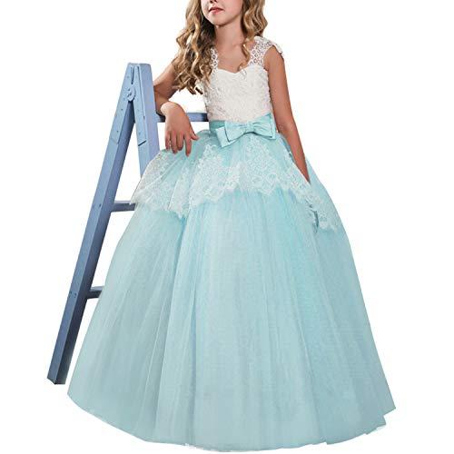 TTYAOVO Vestido de Princesa para Nias Vestido de Fiesta de Bodas de Dama de Honor de Encaje Floral Vestido de Fiesta Tamao 130 6-7 Aos 02 Verde