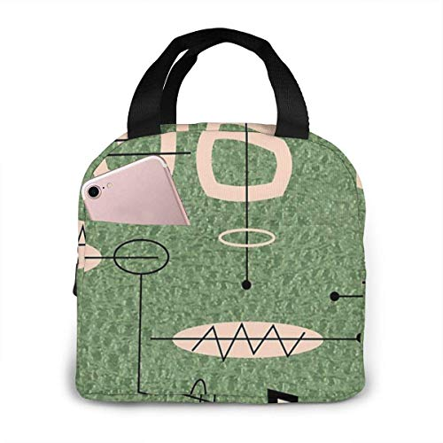 Mid Century Modern Green Abstract Portable Insulated Lunch Bag Big Capacity Lunch Cooler Tote Bag for Outdoor Picnic Schoo