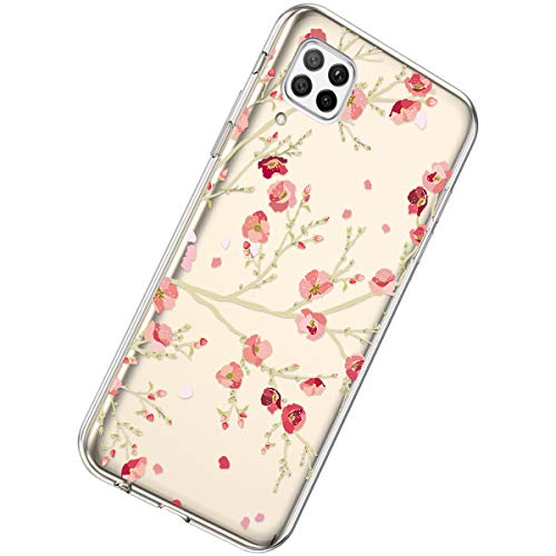 Herbests Kompatibel mit Huawei P40 Lite Hülle Silikon Weich TPU Handyhülle Durchsichtige Schutzhülle Niedlich Muster Transparent Ultradünn Kristall Klar Handyhülle,Kirschblüten