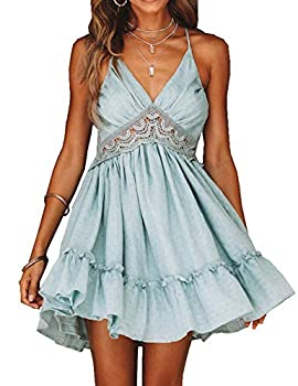 Murimia Women s V-Neck Spaghetti Strap Backless Floral Lace Mini Skater Dress Blue