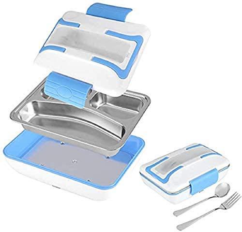 SQUADO Scaldavivande elettrico Portatile Lunch Box,Porta Pranzo Portavivande Termico Vassoio in Acciaio Inossidabile 220V con Forchetta e Cucchiaio