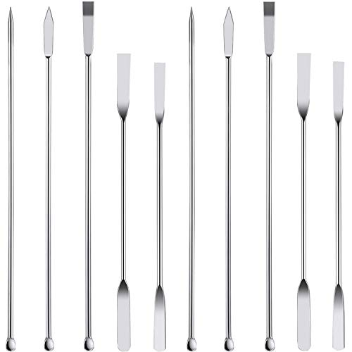 10 Pieces Stainless Steel Lab Spatula Micro Sampling Scoop Double Ended Mixing Spoon Laboratory Measuring Spoon for Powders Gel Cap Filler