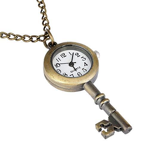 LEYUANA Reloj de Bolsillo de Cuarzo con Forma de Llave Vintage de Bronce Antiguo Lindo, Collar de Hebilla, gráfico de Pared de Regalo, Reloj Colgante Fob