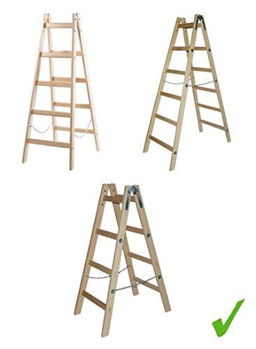 Systafex PRAKTISCHE HOLZLEITER STEHLEITER KLAPPBAR 150 kg Traglast Leiter Holz Sprossenstehleiter 1,25 m / 1,55 m / 1,85 m (1,55 m)