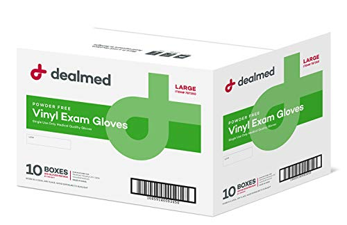Dealmed Vinyl Exam Gloves, Powder Free, Latex Free, Clear (Box of Medium)