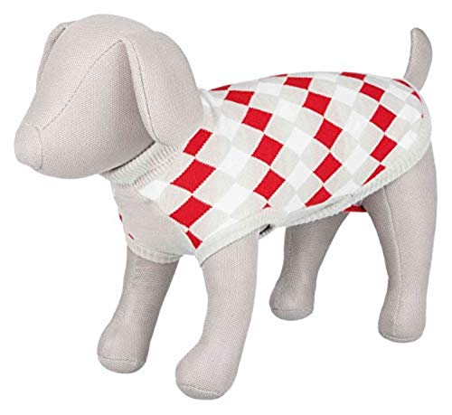 TRIXIE Pullover, Hundebekleidung, Pullover, Pullover, Hundemantel für große Hunde, kleine mittelgroße Hunde, Zubehör für Hühner, Weiß, Grau, Rot, Größe XXS 24 cm