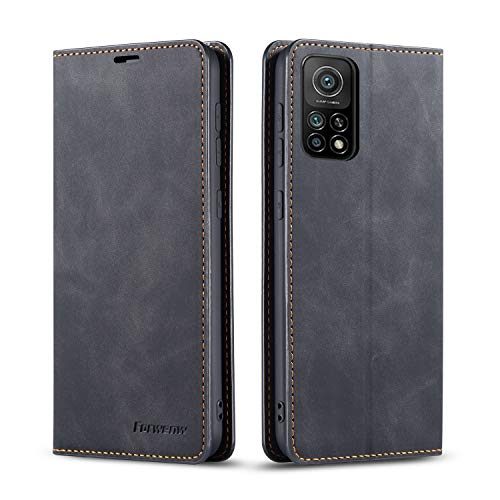 FMPC Compatible with Xiaomi Mi 10T/Mi 10T Pro(5G) Case, PU Premium Leather Flip Folio Wallet Case with Stand Magnetic Closure Notebook Cover (Black)