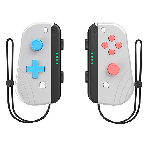 Nintendo Switch Joy-Con Controllers with WristStraps, Joy-Con L/R Wireless Controllers Replacement for Nintendo Switch/Lite, Dual Vibration Joypad Support Wake-up Function (Light Grey)