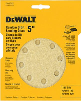 DEWALT DW4301 5-Inch 8 Hole 80 Grit Hook and Loop Random Orbit Sandpaper (5-Pack)