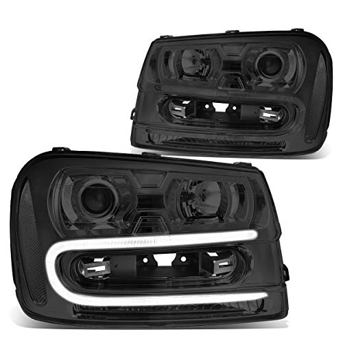 Pair Smoked Housing Clear Corner LED DRL Projector Headlight/Lamps Replacement for 02-09 Chevy Trailblazer