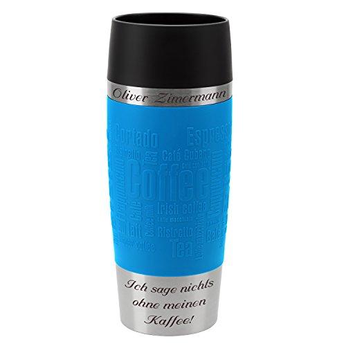 Emsa Thermobecher Travel Mug Wasserblau 360 ml mit persönlicher Rund-Gravur gelasert Edelstahl Soft-Touch-Manschette Quick Express Verschluss