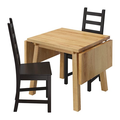 IKEA Table and 2 Chairs, Oak, Brown-Black 10204.2118.618
