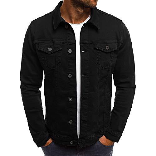 Vertvie Homme Veste en Jeans Solide Bouton Blouson Jacket Manteau Denim Slim Fit Vintage Top Outwear(L,Noir)