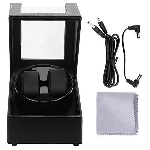 Enrollador de reloj automático para reloj mecánico individual 2 automático Caja de almacenamiento de pantalla de motor súper silencioso Enchufe USB Estilo de fibra de carbono Ajuste de almohada de fel