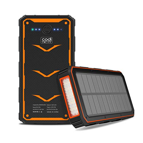 Codi Solar Portable 20000mAh Outdoor Solar Charger Power Bank with Dual USB Output and Led Light Flashlight for iPhone 12, 12 Pro, 12 Pro Max, Samsung Galaxy S20 FE, Note 20 Ultra, Note 20