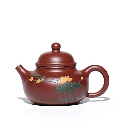 WMYATING Juego de té de lanzamiento combinación de famosas teteras hechas a mano Yixing tetera saludable púrpura arena tetera barro pintura exquisitos regalos de negocios azul (color: rojo)